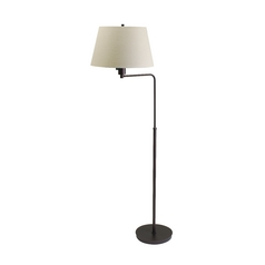 Modern Swing Arm Lamp with White Shade in Chestnut Bronze Finish