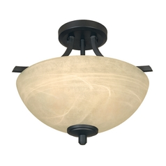 Semi-Flushmount Light with Alabaster Glass in Burnished Bronze Finish