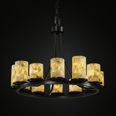 Justice Design Alabaster Rocks! 12-Light Chandelier in Matte Black