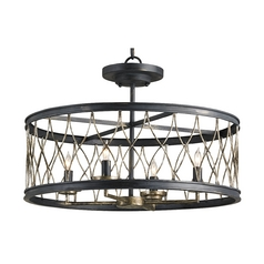 Semi-Flushmount Light in French Black/pyrite Bronze Finish