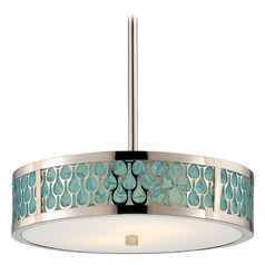Modern LED Drum Pendant Light with White Shade in Polished Nickel