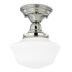 8-Inch Nickel Schoolhouse Semi-Flush Ceiling Light