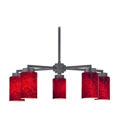 Modern Chandelier with Five Lights and Red Art Glass in Black Finish