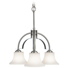 Feiss Modern 3-Light Chandelier with White Glass in Brushed Steel