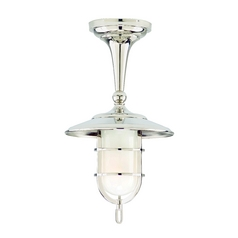 Hudson Valley Lighting Semi-Flushmount Light with White Glass in Polished Nickel Finish 2911-PN