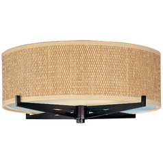 Modern Flushmount Light with Brown Tones Shades in Oil Rubbed Bronze Finish
