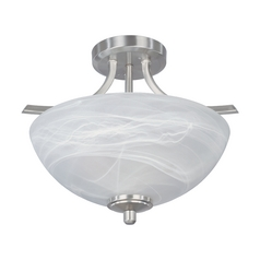 Semi-Flushmount Light with Alabaster Glass in Satin Platinum Finish