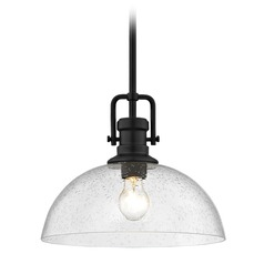 Seeded Glass Black Pendant Light 13-Inch Wide