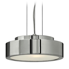 Frederick Ramond Broadway Polished Aluminum Mini-Pendant Light with Drum Shade