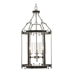 Savoy House Lighting Gramercy Polished Pewter / Black Pendant Light with Cylindrical Shade