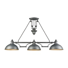 Elk Lighting Farmhouse Weathered Zinc Billiard Light with Bowl / Dome Shade