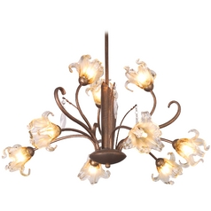 Chandelier with Amber Glass in Antique Bronze Finish