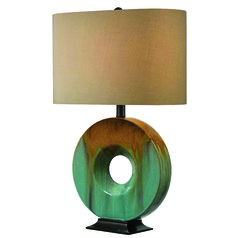 Table Lamp with Gold Shade in Ceramic Glaze Finish