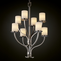 Justice Design Fusion 2-Tier 8-Light Chandelier in Brushed Nickel
