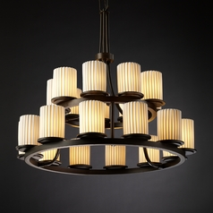 Justice Design Limoges 2-Tier 21-Light Chandelier in Dark Bronze