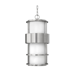 Modern Outdoor Hanging Light with White Glass in Stainless Steel Finish