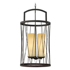 Frederick Ramond Nest Oil Rubbed Bronze Pendant Light with Cylindrical Shade