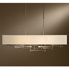 Hubbardton Forge Lighting Cavaletti Burnished Steel Island Light with Rectangle Shade