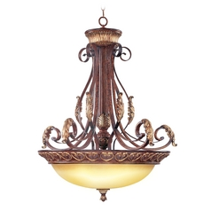 Livex Lighting Villa Verona Bronze with Aged Gold Leaf Accents Pendant Light with Bowl / Dome Shade