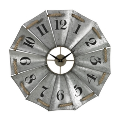 Sterling Lighting Galvanized Metal / Natural Rope Clock