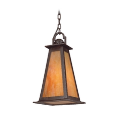 Troy Lighting Outdoor Hanging Light with Amber Glass in Statuary Bronze Finish F9887SBZ