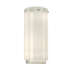 Sconce Wall Light with White Glass in Polished Chrome Finish