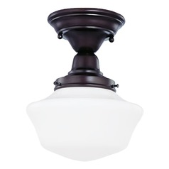 8-Inch Retro Style Schoolhouse Ceiling Light in Bronze Finish