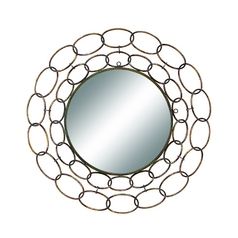 UMA Enterprises 32-Inch Round Mirror with Antiqued Gold Metal Loops 48432