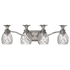 Polished Antique Nickel Pineaple Bathroom Light with Clear Glass