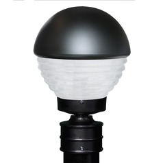 Frosted Ribbed Glass Post Light Black Costaluz by Besa Lighting
