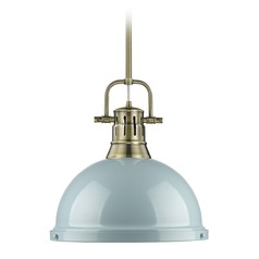 Golden Lighting Duncan Ab Aged Brass Pendant Light with Bowl / Dome Shade