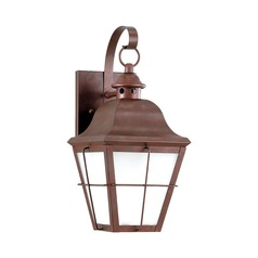 Frosted Seeded Glass LED Outdoor Wall Light Copper Sea Gull Lighting