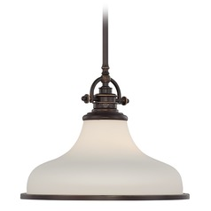 Modern Pendant Light with White Glass in Palladian Bronze Finish