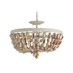 Semi-Flushmount Light in White Coral/natural Finish