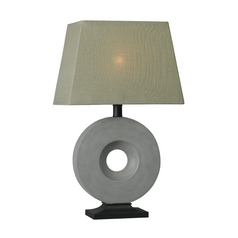 Modern Table Lamp with Taupe Shade in Concrete Finish