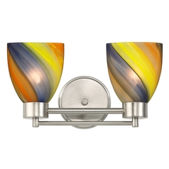 Modern Bathroom Light with Art Glass in Satin Nickel Finish