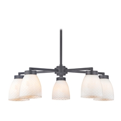 Modern Chandelier with Five Lights and White Art Glass in Black Finish