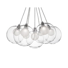 Cluster Pendant Light Chrome with Clear Glass 7-Light Kuzco Lighting