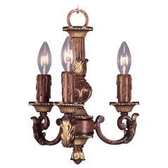 Livex Lighting Villa Verona Bronze with Aged Gold Leaf Accents Mini-Chandelier