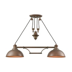 Elk Lighting Farmhouse Tarnished Brass Billiard Light with Bowl / Dome Shade