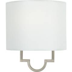Sconce Wall Light with White Paper Shade in Pewter Plated Finish