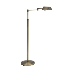 Swing Arm Pharmacy Floor Lamp in Antique Brass Finish