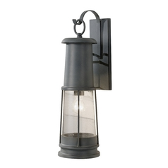 Outdoor Wall Light with Clear Glass in Storm Cloud Finish