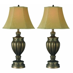 Kenroy Home Lighting Table Lamp Set with Gold Shade in Smoked Bronze Finish 32187SMB