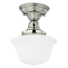 8-Inch Schoolhouse Semi-Flushmount Ceiling Light in Nickel Finish