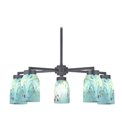 Black Chandelier with Turquoise Art Glass - Five Lights