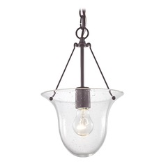Industrial Seeded Glass Bowl Pendant Light Bronze 1 Lt
