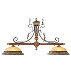 Livex Lighting Villa Verona Bronze with Aged Gold Leaf Accents Island Light with Bowl / Dome Shade