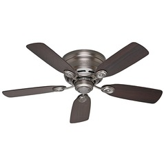 42-Inch Hunter Fan Low Profile Antique Pewter Ceiling Fan Without Light