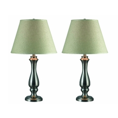 Table Lamp Set with Taupe Shade in Brushed Steel Finish